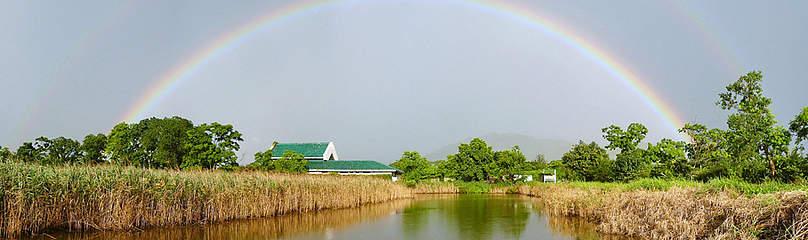 Rainbow over Mai Po Education centre / ©: Bena Smith / WWF-Hong Kong