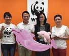 Donation handover to WWF.  From left:  Samantha Lee (Assistant Conservation Manager, Marine, WWF-Hong Kong) Chiu Tak-wing (Expedition leader and president of CUHK Rowing Team Alumni Association) Annie Suen (Senior Communications and Public Relations Manager of The Chinese University of Hong Kong) Betty Chan (Director of Development, WWF-Hong Kong)
