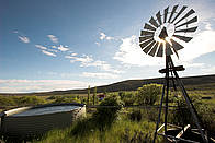 Windmill powering a waterpump on the Monte Leon estancia. Monte Leon National Park, Patagonia, ... / ©: James Frankham / WWF