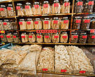 Dried marine products like shark fins and dried abalone in Sheung Wan District, Hong Kong.